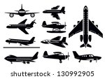 vector black planes icon set on ... | Shutterstock .eps vector #130992905