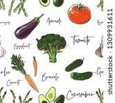 vegan food seamless pattern... | Shutterstock .eps vector #1309931611