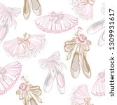pointe ballet shoes and...   Shutterstock .eps vector #1309931617