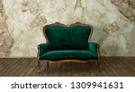 green royal sofa in the loft... | Shutterstock . vector #1309941631