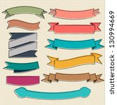 vector sketchy set of ribbons | Shutterstock .eps vector #130994669