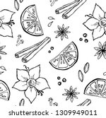 hand drawn culinary herbs and... | Shutterstock .eps vector #1309949011