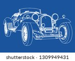 Drawing Of A Vintage Sports Car ...