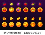 fruits slots icon set. 2d game...