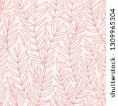 Stock vector simple leaves hand drawn seamless pattern botanical trendy design in pink colors vector repeating 1309965304