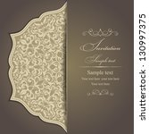 Stock vector wedding invitation cards baroque style brown and gold vintage pattern damascus style ornament 130997375