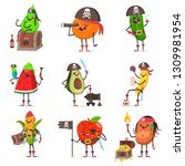 funny pirate fruit in hat with... | Shutterstock .eps vector #1309981954