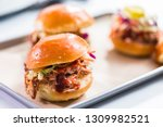 bbq pulled pork sandwich in... | Shutterstock . vector #1309982521
