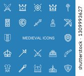 editable 22 medieval icons for... | Shutterstock .eps vector #1309993627