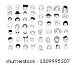 cute cartoon faces. different... | Shutterstock .eps vector #1309995307