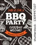 barbecue vector hand drawn... | Shutterstock .eps vector #1309997107