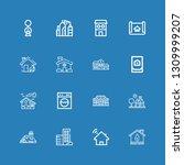 editable 16 residential icons... | Shutterstock .eps vector #1309999207