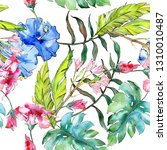 blue and pink exotic tropical... | Shutterstock . vector #1310010487