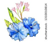 blue and pink exotic tropical...   Shutterstock . vector #1310010814