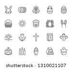 easter flat line icons set.... | Shutterstock .eps vector #1310021107