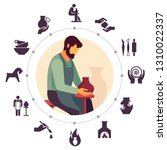 a male master potter is sitting ... | Shutterstock .eps vector #1310022337