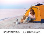happy weekend by the sea   girl ... | Shutterstock . vector #1310043124