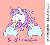 cute unicorn cartoon character... | Shutterstock .eps vector #1310057137