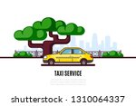 taxi car parking along the city ... | Shutterstock .eps vector #1310064337