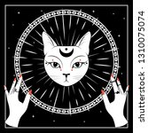 white cat face with moon on... | Shutterstock .eps vector #1310075074