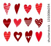 red hearts set. symbol of... | Shutterstock .eps vector #1310086054