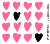 set of pink hearts. symbol of... | Shutterstock .eps vector #1310086081