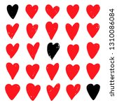 red hearts set. symbol of... | Shutterstock .eps vector #1310086084