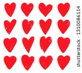 red hearts set. symbol of... | Shutterstock .eps vector #1310086114