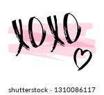 xoxo phrase with heart  pink... | Shutterstock .eps vector #1310086117