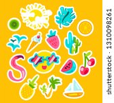 summer color vector stickers set   Shutterstock .eps vector #1310098261