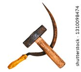 Small photo of Labor day concept. Old hammer and sickle. Concept Symbolism of the USSR. Isolated on white.
