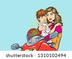 mom puts on her son's helmet...   Shutterstock .eps vector #1310102494
