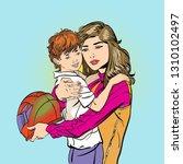 mom puts on her son's helmet...   Shutterstock .eps vector #1310102497