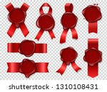 seal candle stamp. red ribbons... | Shutterstock .eps vector #1310108431