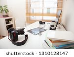 still life working from home... | Shutterstock . vector #1310128147