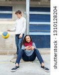 diverse teenager studends... | Shutterstock . vector #1310128204