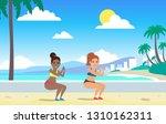 two women squats exercising... | Shutterstock .eps vector #1310162311