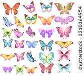 Stock vector beautiful color butterflies set isolated on a white 1310164954
