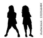 black silhouette kids | Shutterstock .eps vector #1310166484
