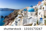 view to the village oia with... | Shutterstock . vector #1310173267