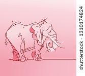pink cartoon elephant background | Shutterstock .eps vector #1310174824