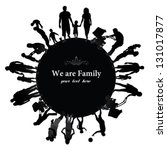 frame with family silhouettes. | Shutterstock .eps vector #131017877