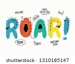 Roar slogan graphic with funny dinosaur cartoons. Vector graphics for t-shirt prints and other uses.