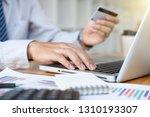 businessman hand using smart...   Shutterstock . vector #1310193307