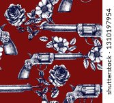 retro guns and roses texture.... | Shutterstock .eps vector #1310197954