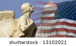 Small photo of The winged figure of Democracy pursues the symbols of American power and nationhood.