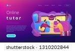 teacher with books helping... | Shutterstock .eps vector #1310202844