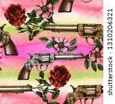 retro guns and roses texture.... | Shutterstock . vector #1310206321