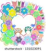 owls  birds love heart and... | Shutterstock . vector #131023091