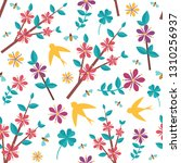 spring pattern with icons.... | Shutterstock .eps vector #1310256937